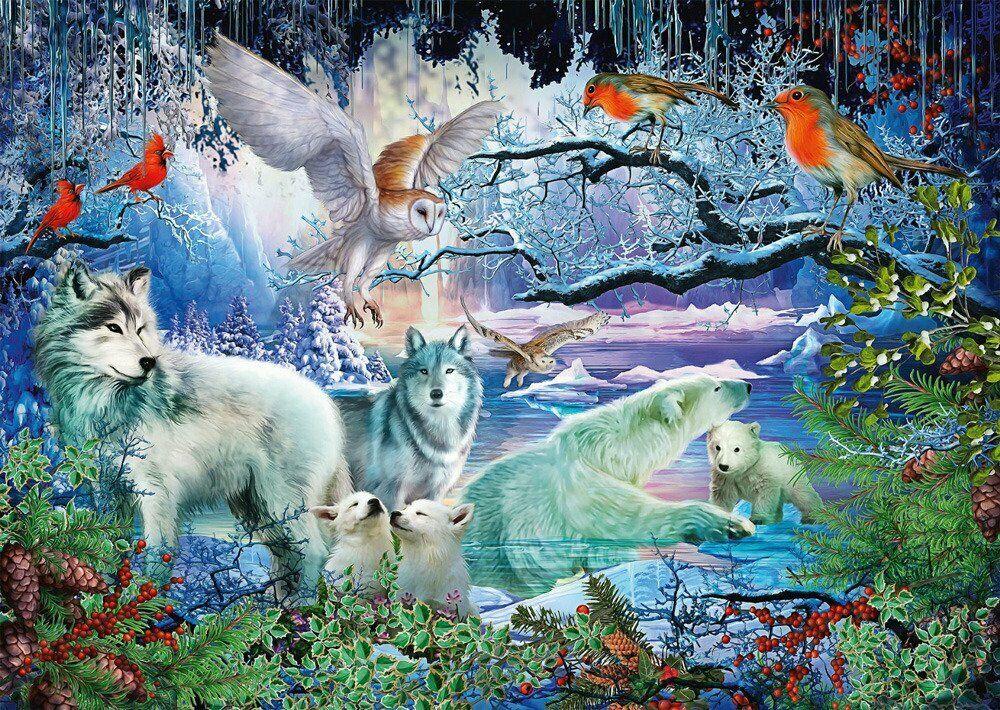 фотообои с зимним лесом волками белыми совами пляже друзья